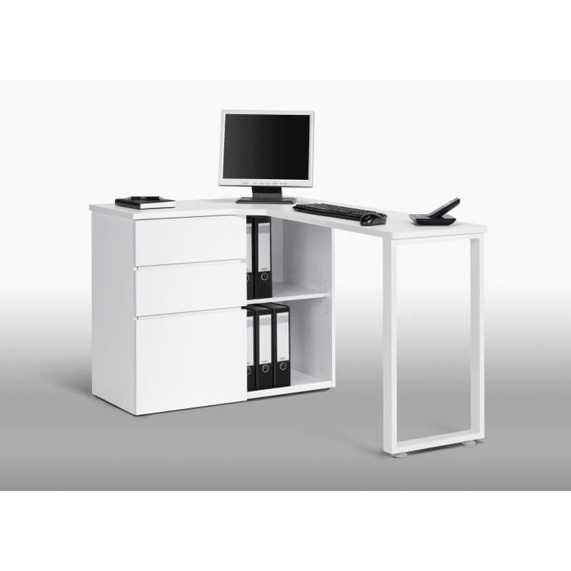 bureau informatique d 39 angle design avec rangement blanc lelia. Black Bedroom Furniture Sets. Home Design Ideas
