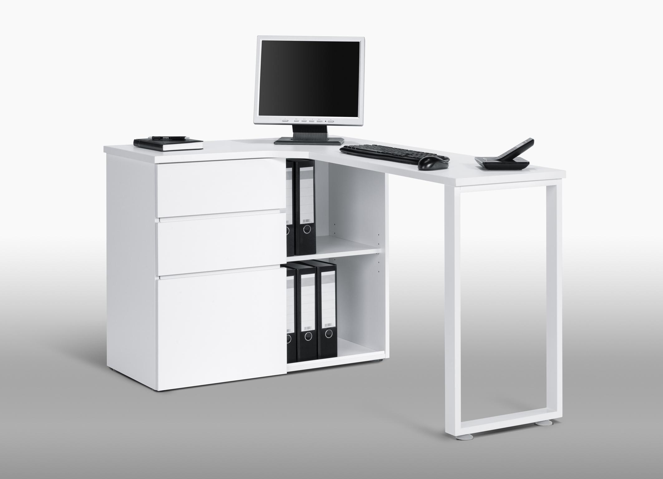 bureau informatique d 39 angle design avec rangement blanc lelia. Black Bedroom Furniture Sets. Home Design Ideas