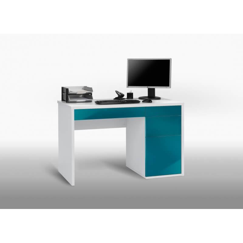 Bureau informatique design blanc bleu laqu mattea - Bureau informatique blanc laque ...