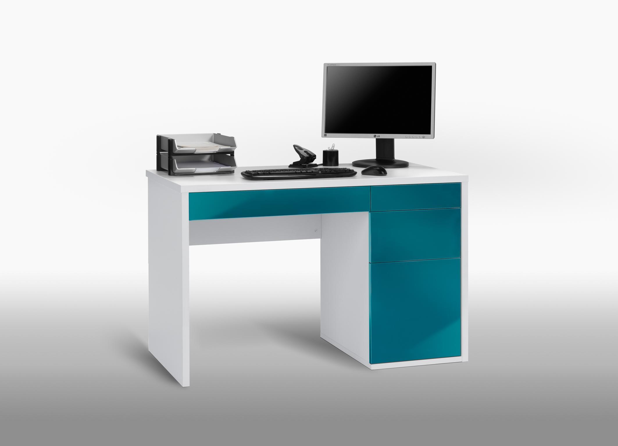 Bureau informatique design blanc bleu laqué mattea