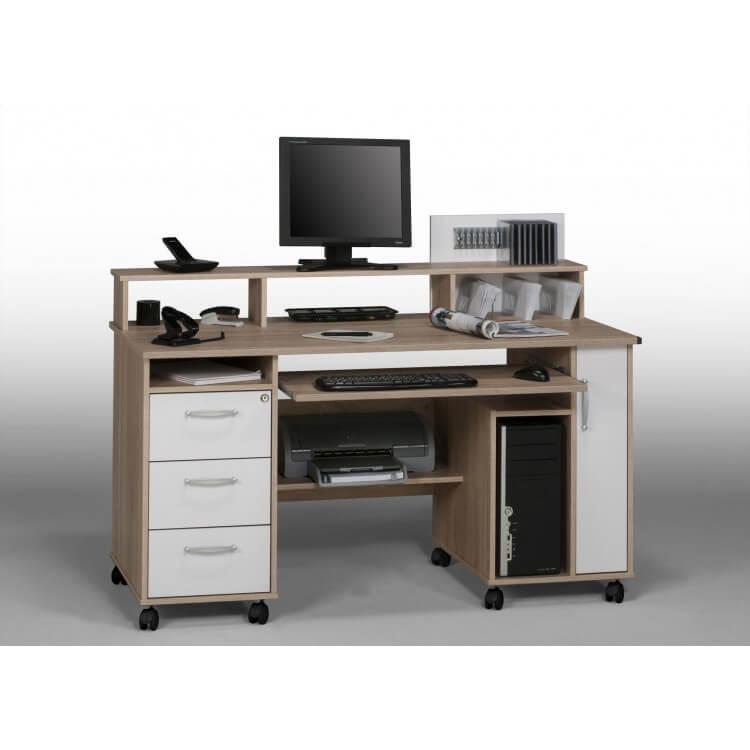 Bureau informatique contemporain chêne sonoma-blanc Andria
