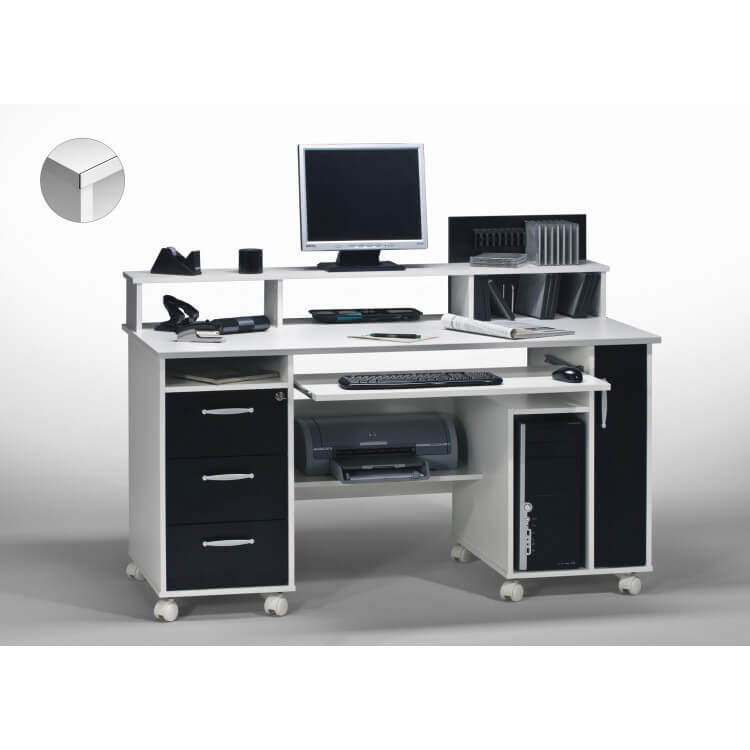 Bureau informatique contemporain blanc-noir Andria