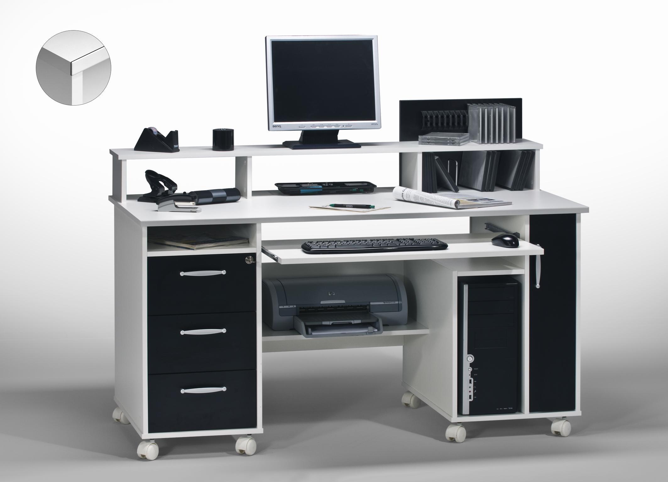 Bureau informatique contemporain blanc noir andria matelpro