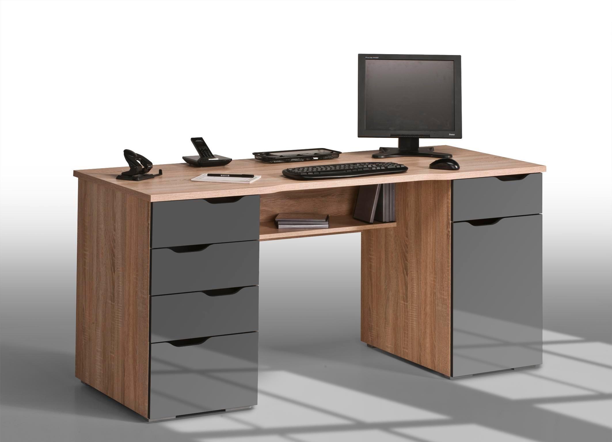 Bureau informatique design chêne sonoma-gris laqué Claudelle