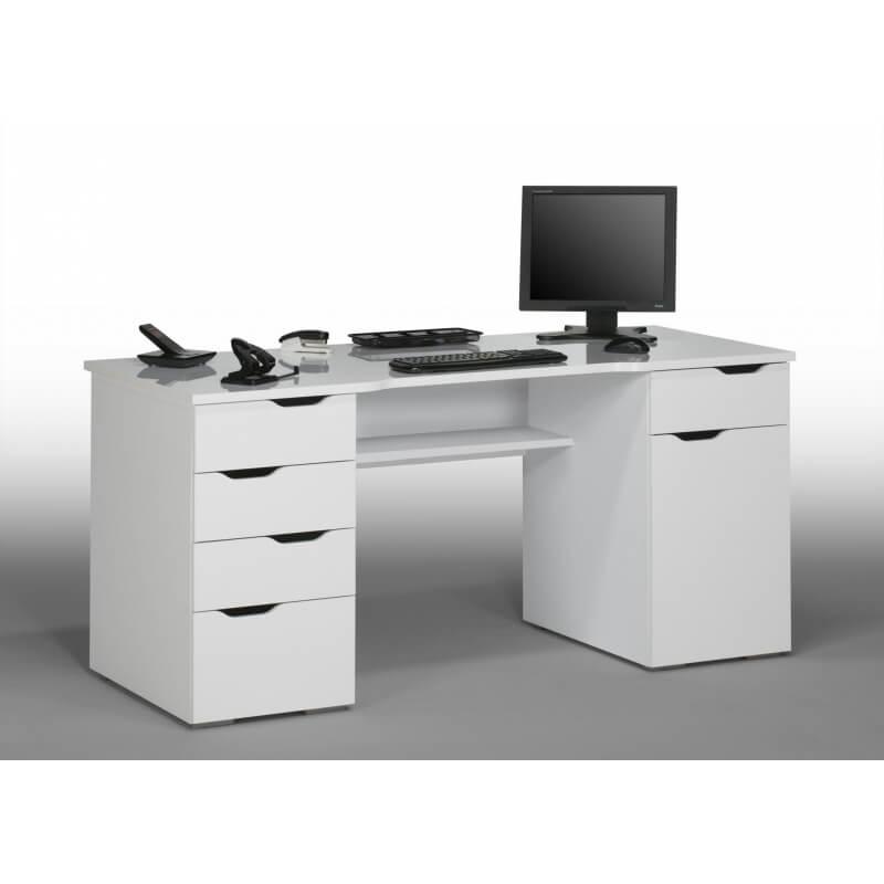 bureau informatique design laqu blanc claudelle. Black Bedroom Furniture Sets. Home Design Ideas