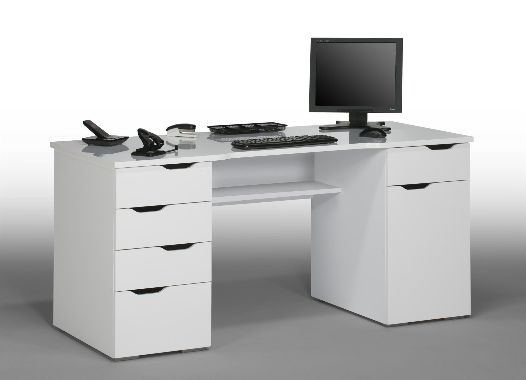 Bureau informatique design laqu blanc claudelle Bureau d ado