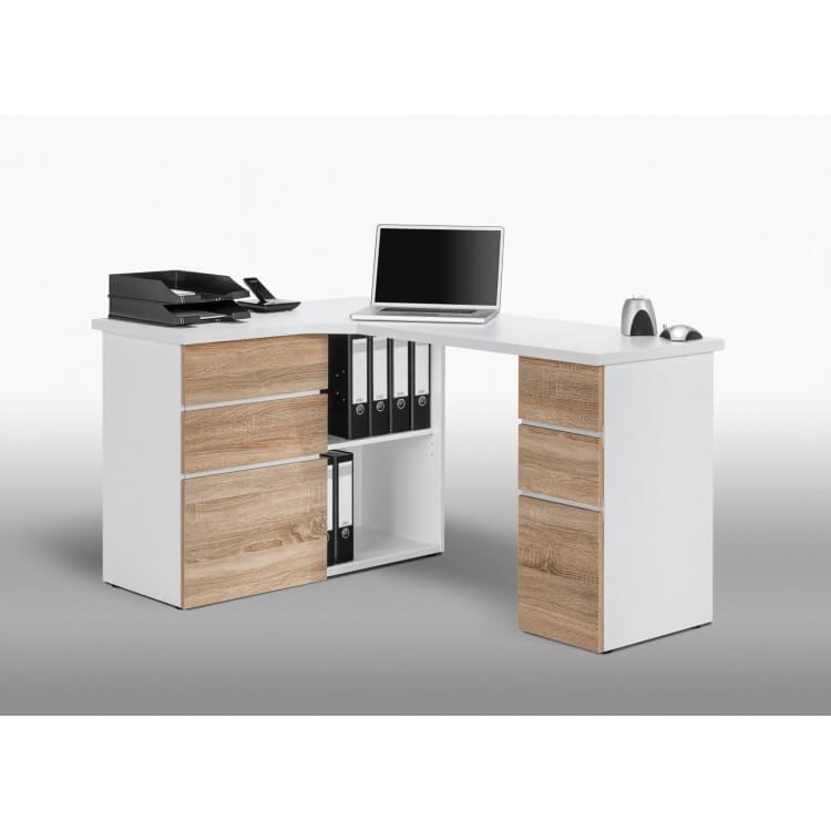 Bureau informatique d'angle contemporain avec rangement chêne sonoma-blanc Nayade