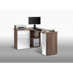 Bureau informatique d'angle contemporain avec rangement chêne truffé-blanc laqué Nayade