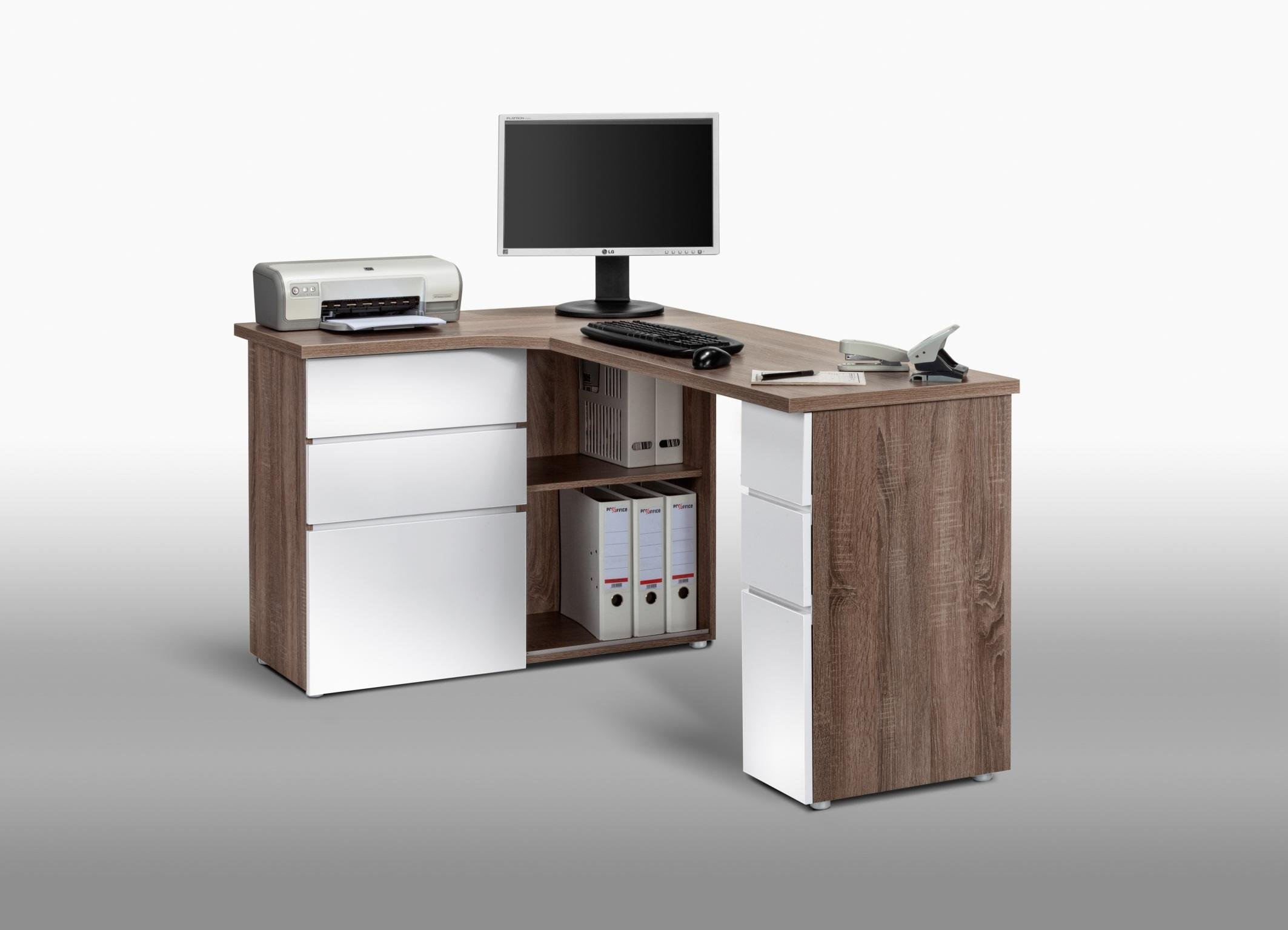 bureau informatique d 39 angle contemporain avec rangement ch ne truff blanc laqu nayade matelpro. Black Bedroom Furniture Sets. Home Design Ideas