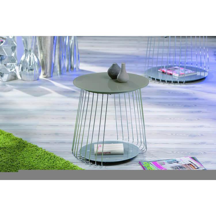 Table basse design en métal et verre grise Zelda