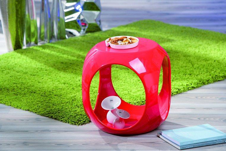 Table d'appoint carrée design rouge Nano