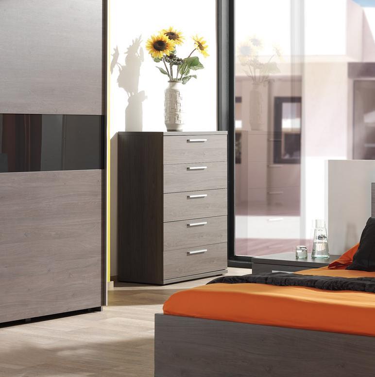 Commode contemporaine haute 5 tiroirs chêne bergerac Svelta