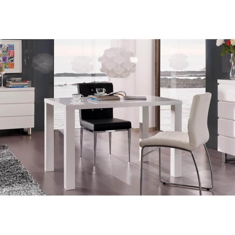Table de salle à manger design laquée blanche Destiny