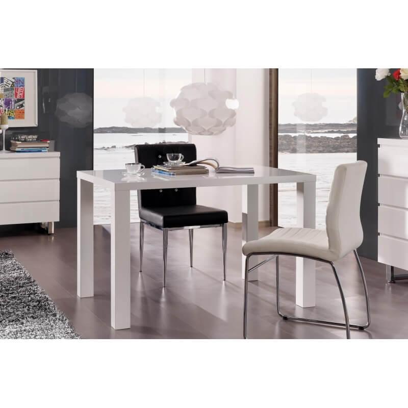 Table de cuisine design laqu e blanche destiny matelpro - Cuisine blanche laquee ...