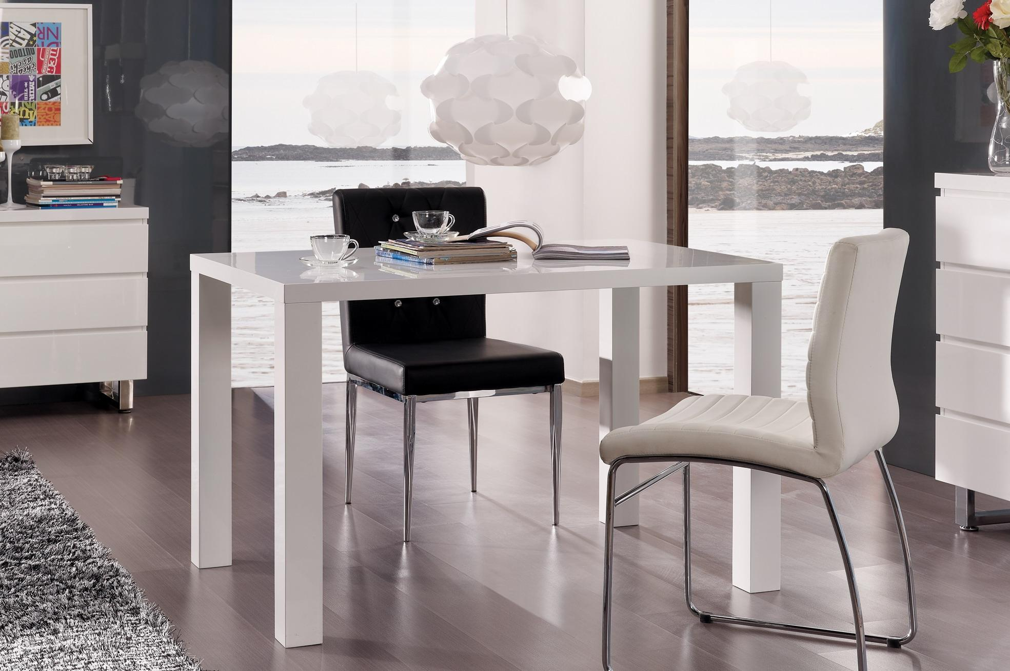table de cuisine design laqu e blanche destiny matelpro. Black Bedroom Furniture Sets. Home Design Ideas