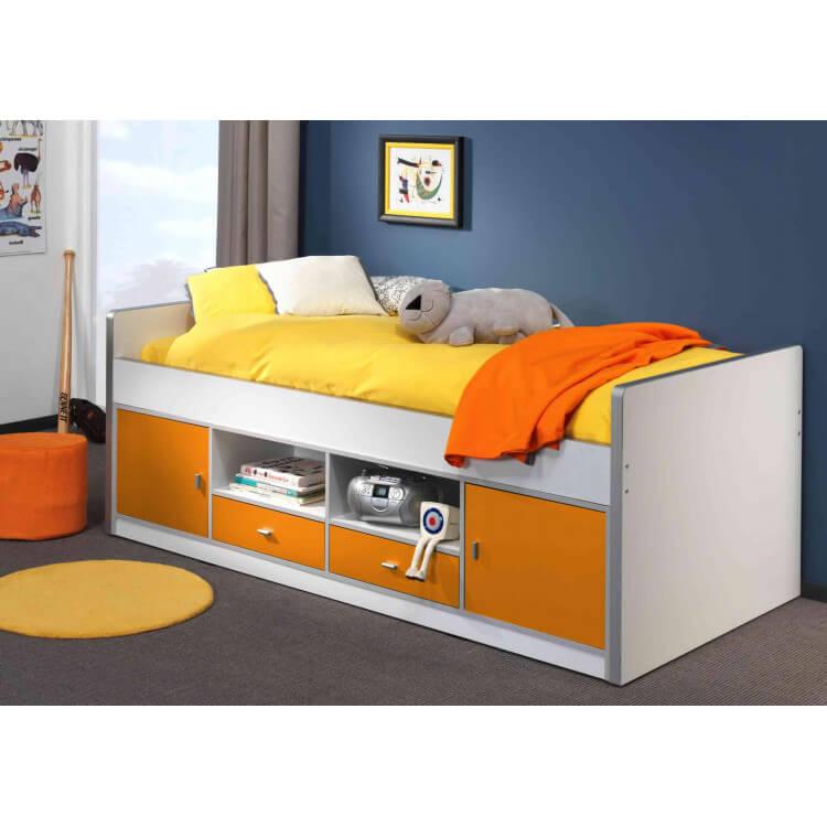 lit sur lev enfant avec rangement blanc orange sunny matelpro. Black Bedroom Furniture Sets. Home Design Ideas