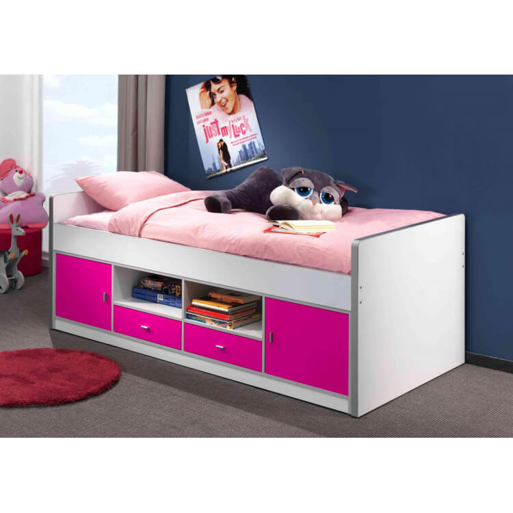 lit sur lev enfant avec rangement blanc fuchsia sunny matelpro. Black Bedroom Furniture Sets. Home Design Ideas
