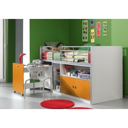 Lit combiné enfant contemporain blanc/orange Janny