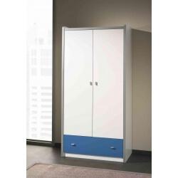 Armoire enfant contemporaine 2 portes coloris blanc/bleu Debby