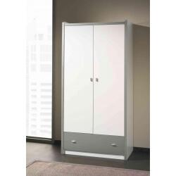 Armoire enfant contemporaine 2 portes coloris blanc/gris Debby