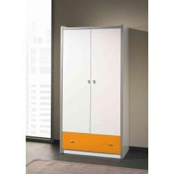 Armoire enfant contemporaine 2 portes coloris blanc/orange Debby