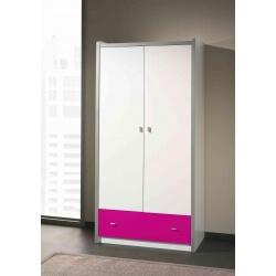 Armoire enfant contemporaine 2 portes coloris blanc/fuchsia Debby