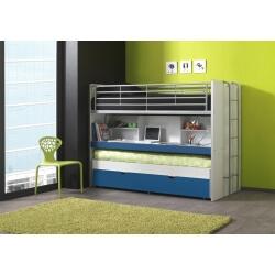 Lits enfant superposés combiné avec tiroir-lit blanc/bleu Carrie