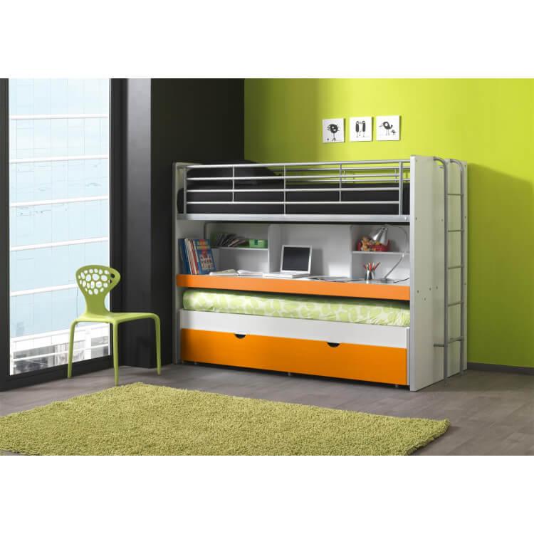 Lits enfant superposés combiné avec tiroir-lit blanc/orange Carrie