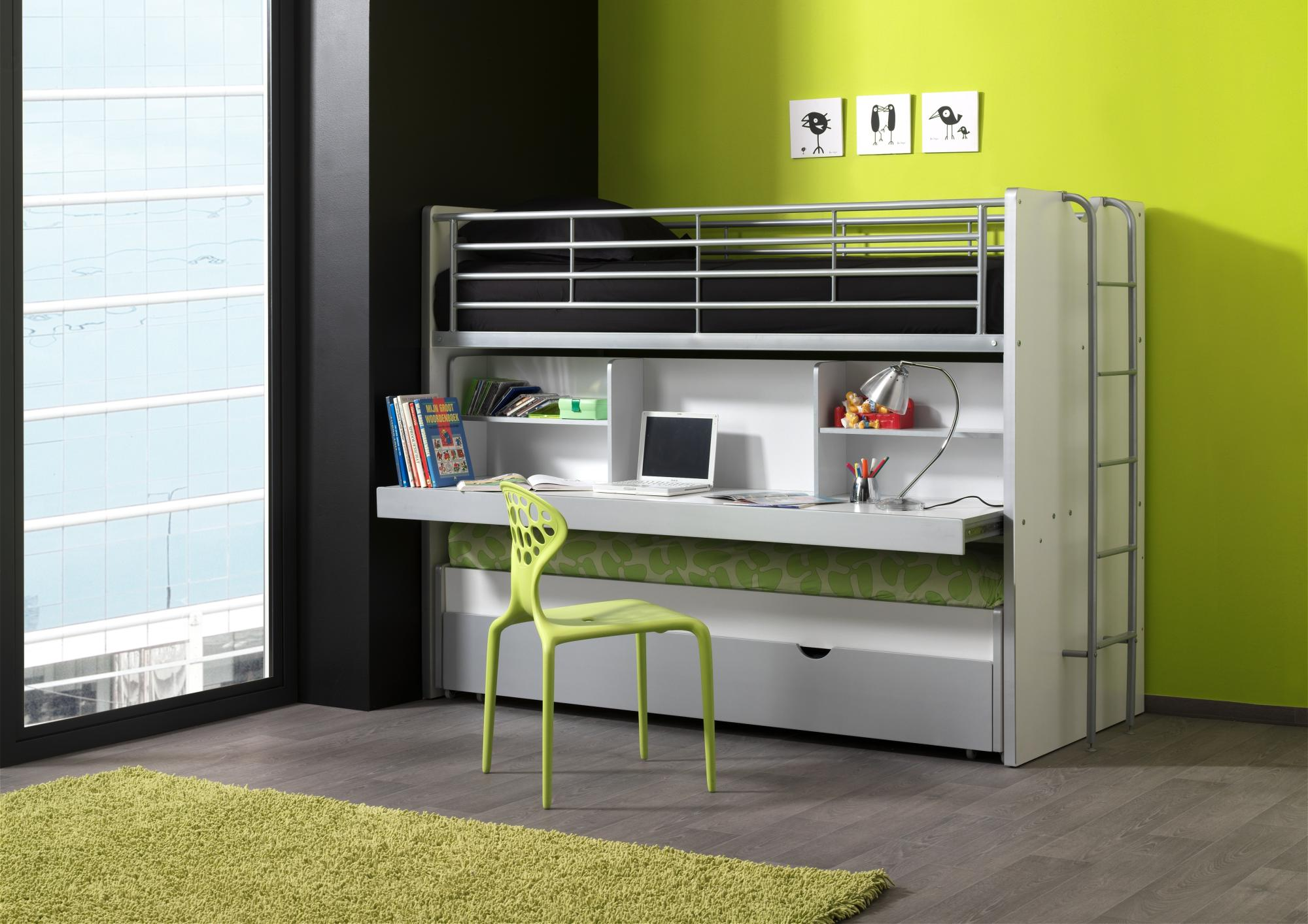 lits enfant superpos s combin avec tiroir lit blanc. Black Bedroom Furniture Sets. Home Design Ideas