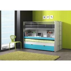 Lits enfant superposés combiné avec tiroir-lit blanc/turquoise Carrie