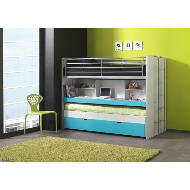 lits enfant superpos s combin avec tiroir lit blanc turquoise carrie matelpro
