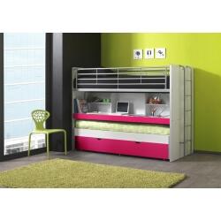 Lits enfant superposés combiné avec tiroir-lit blanc/fuchsia Carrie
