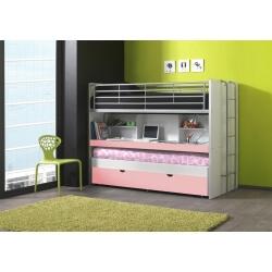 Lits enfant superposés combiné avec tiroir-lit blanc/rose Carrie
