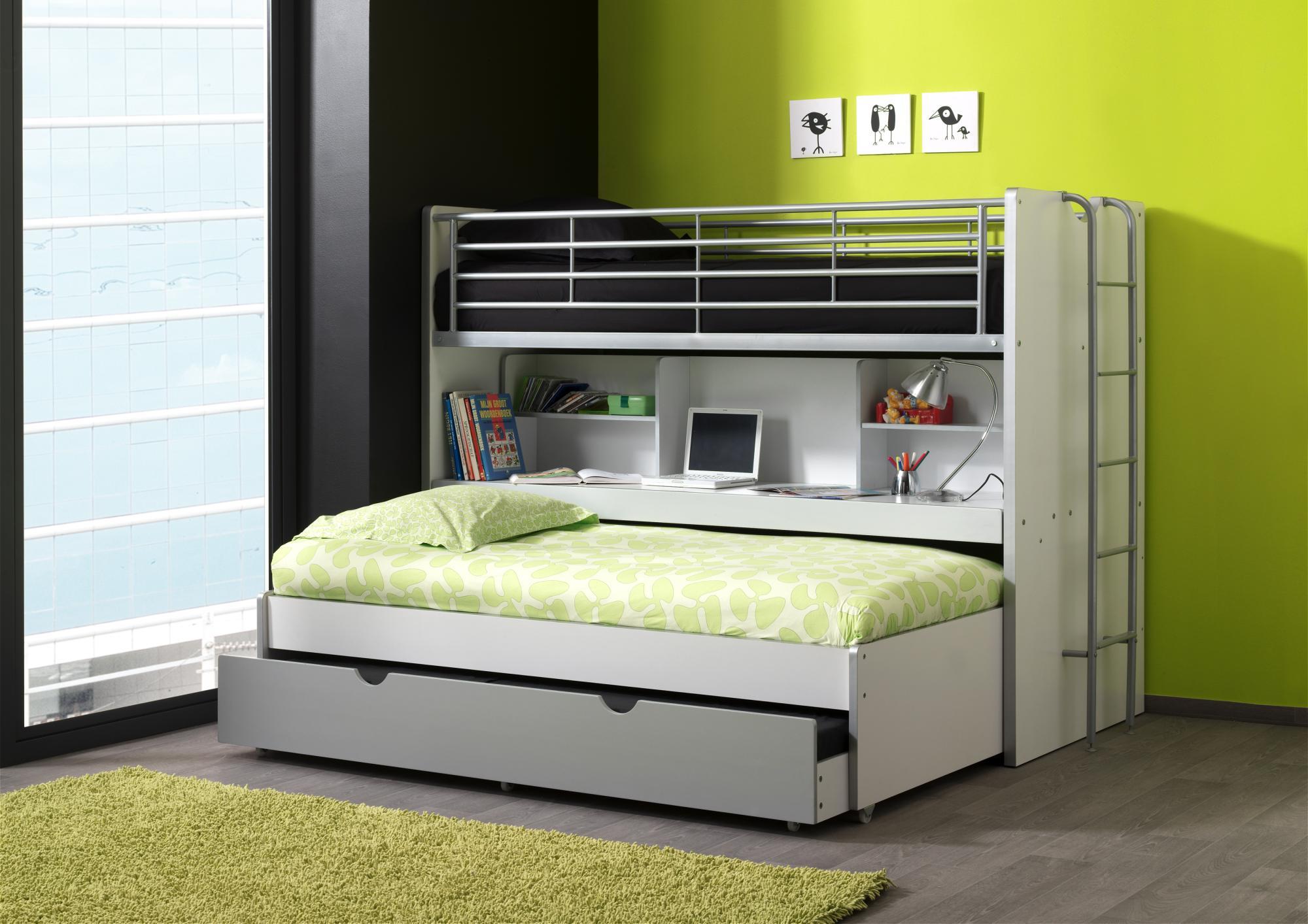 lits enfant superposés combiné avec tiroirlit blancrose