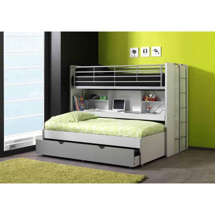 lits enfant superpos s combin avec tiroir lit blanc graffity carrie. Black Bedroom Furniture Sets. Home Design Ideas