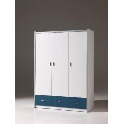 Armoire 3 portes contemporaine coloris blanc/bleu Debby