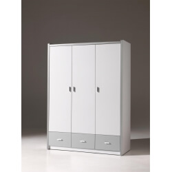 Armoire 3 portes contemporaine coloris blanc/gris Debby