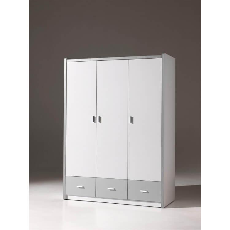 Armoire 3 portes contemporaine coloris blanc/gris Debby