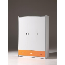 Armoire 3 portes contemporaine coloris blanc/orange Debby