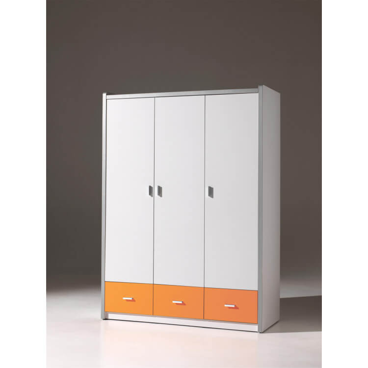 Armoire 3 portes contemporaine coloris blanc/orange Debby