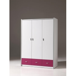 Armoire 3 portes contemporaine coloris blanc/fuchsia Debby