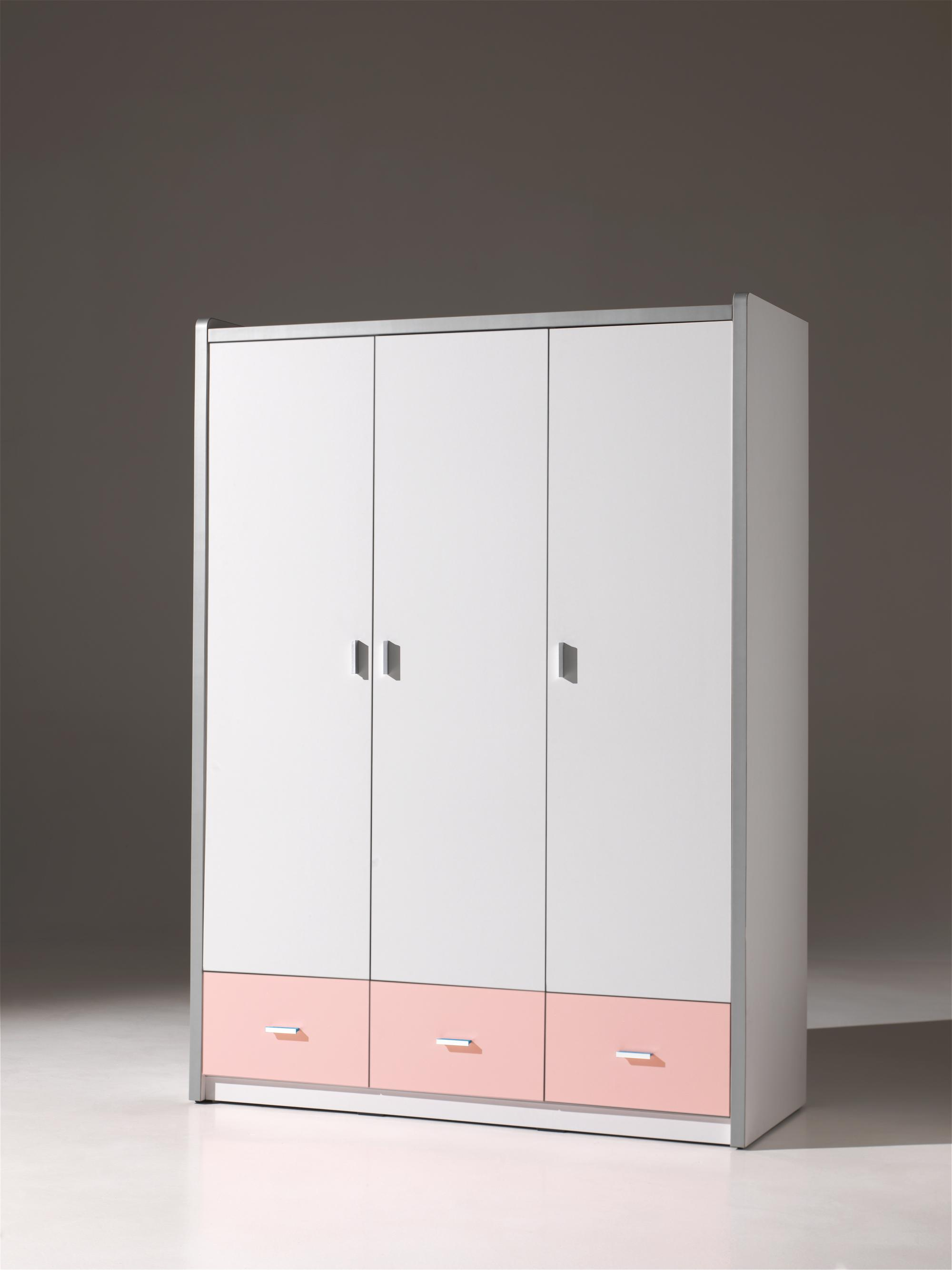 Armoire 3 portes contemporaine coloris blanc/rose Debby
