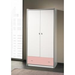 Armoire enfant contemporaine 2 portes coloris blanc/rose Debby