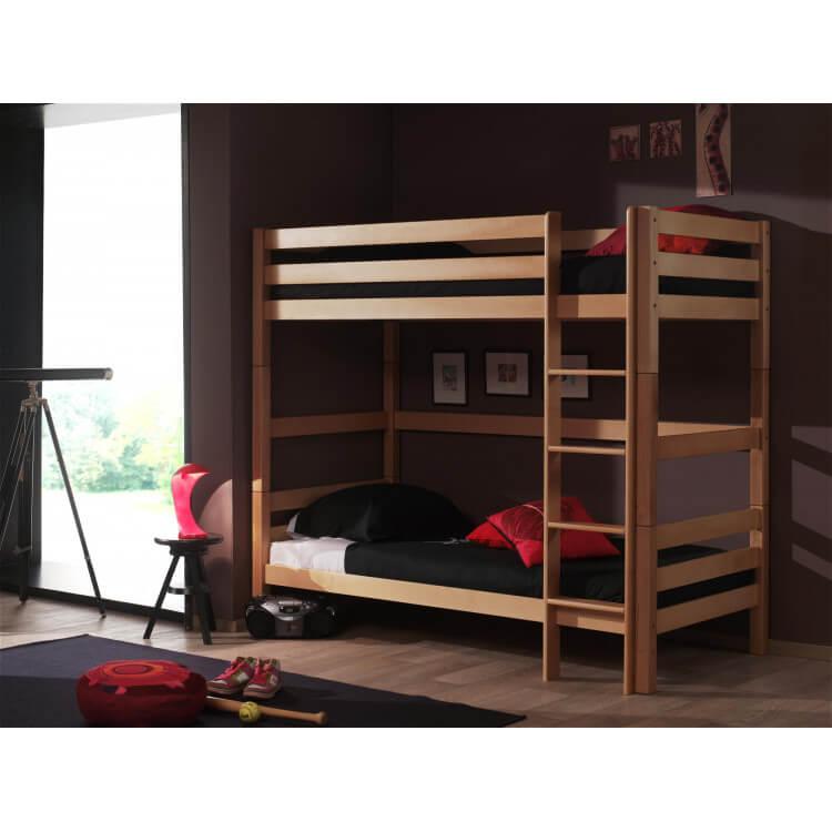 lits enfant superpos s s parables h tre massif coloris naturel duetto. Black Bedroom Furniture Sets. Home Design Ideas