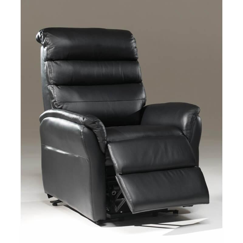 fauteuil de relaxation lectrique en cuir noir 2 moteurs avec releveur joris matelpro. Black Bedroom Furniture Sets. Home Design Ideas