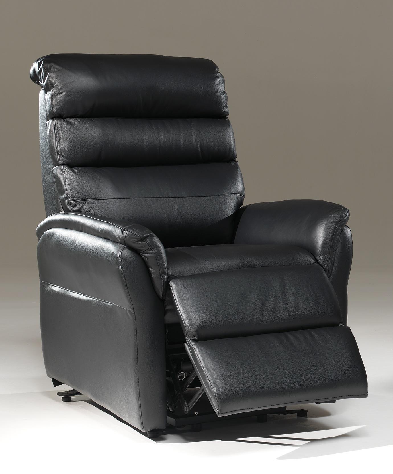 Fauteuil de relaxation électrique en cuir noir 2 moteurs avec releveur Joris