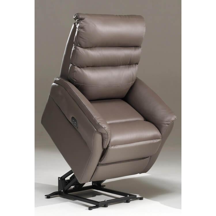 Fauteuil de relaxation électrique en cuir brun 2 moteurs avec releveur Joris