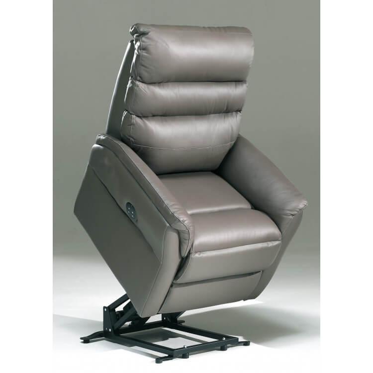Fauteuil de relaxation électrique en cuir gris 2 moteurs avec releveur Joris