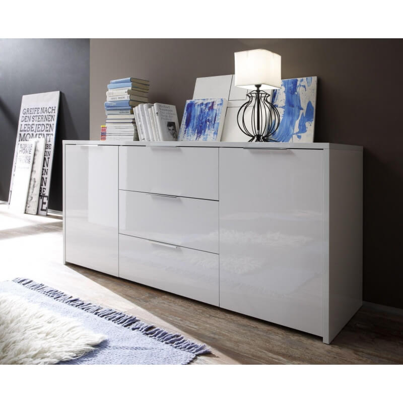 buffet bahut design 2 portes 3 tiroirs laqu blanc sybelle. Black Bedroom Furniture Sets. Home Design Ideas