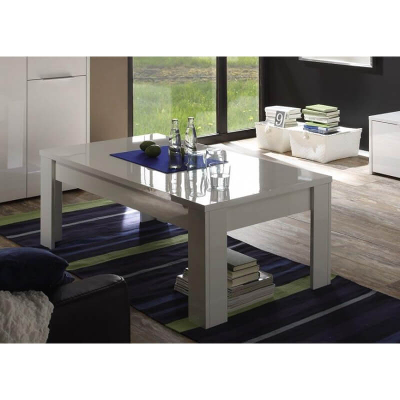 table basse rectangulaire design laqu e blanche sybelle. Black Bedroom Furniture Sets. Home Design Ideas